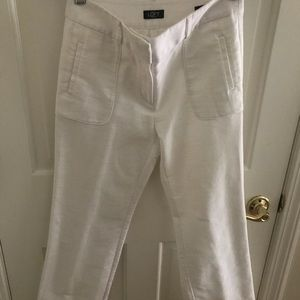 Ann Taylor LOFT white linen-like pants